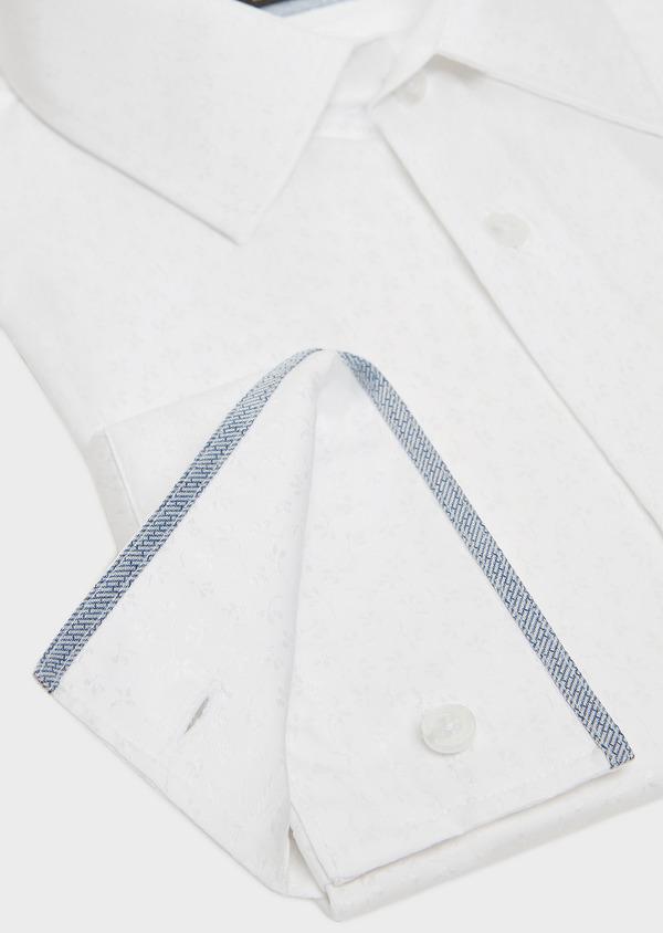 Chemise habillée Slim en coton blanc façonné à motif fleuri ton-sur-ton - Father and Sons 32417
