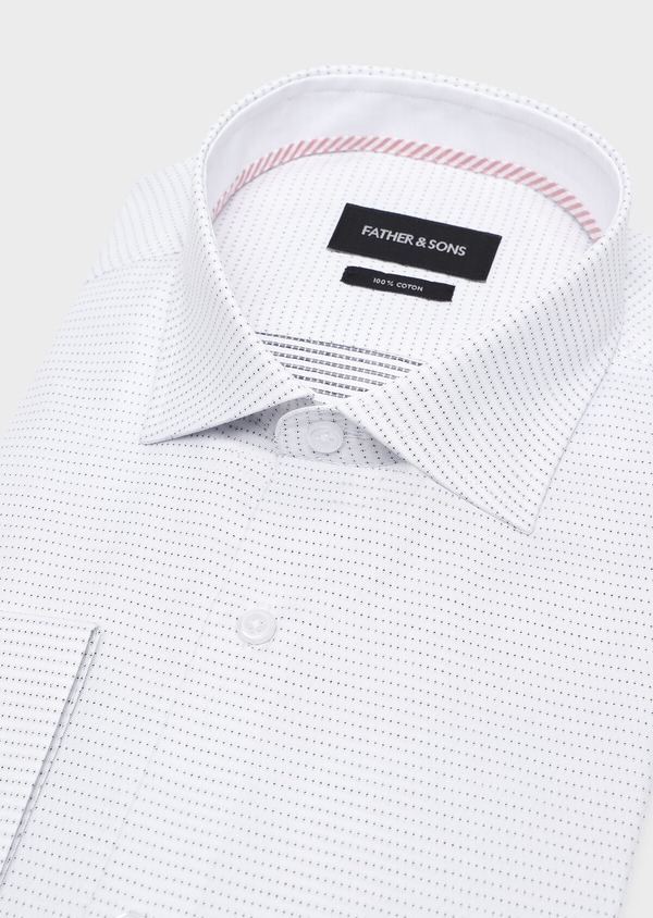 Chemise habillée Slim en coton Jacquard blanc à motif fantaisie noir - Father and Sons 32288