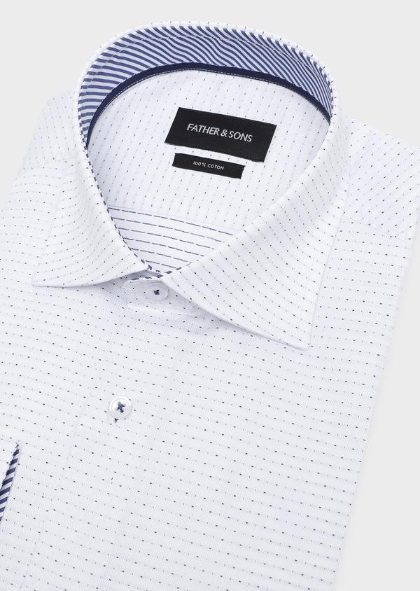 Chemise habillée Slim en coton façonné blanc à pois bleus - Father and Sons 32296
