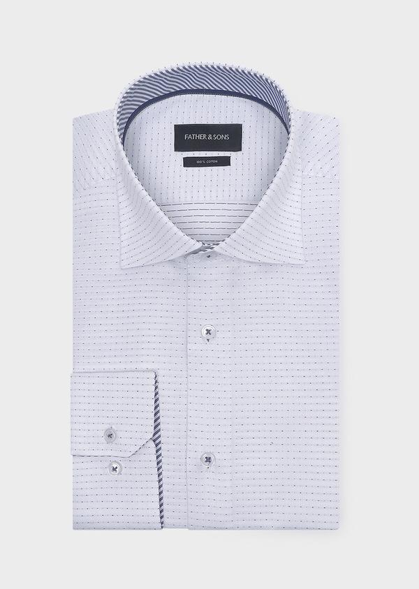Chemise habillée Slim en coton façonné blanc à pois bleus - Father and Sons 32294
