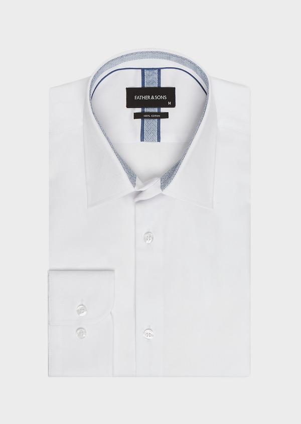 Chemise habillée Slim en popeline de coton blanc à pois ton-sur-ton - Father and Sons 32398