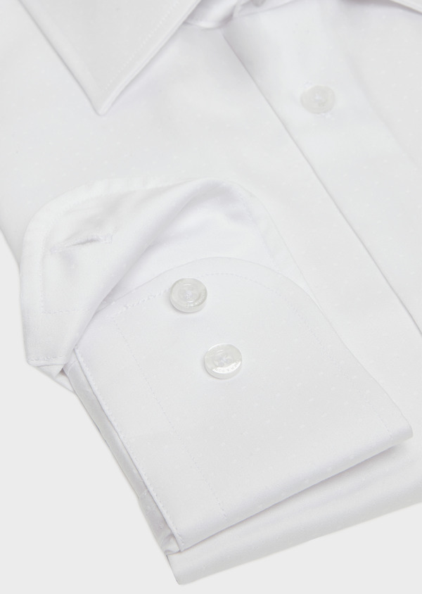 Chemise habillée Slim en popeline de coton blanc à pois ton-sur-ton - Father and Sons 32401