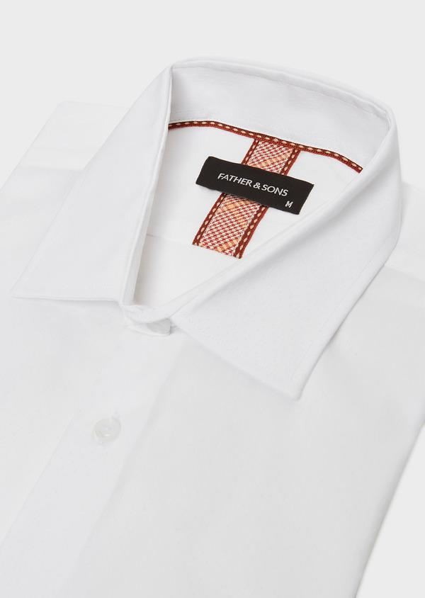 Chemise habillée Slim en pinpoint de coton stretch blanc à pois ton-sur-ton - Father and Sons 32420