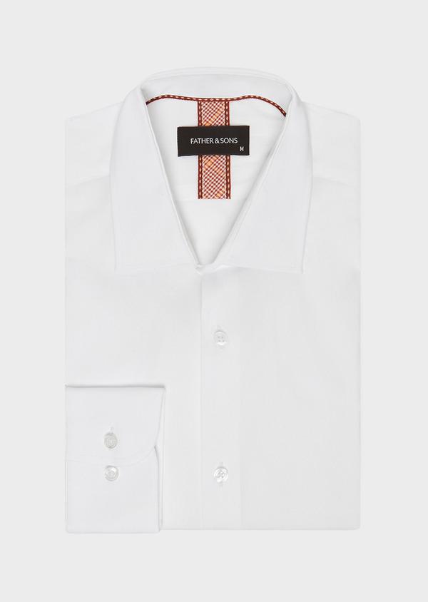 Chemise habillée Slim en pinpoint de coton stretch blanc à pois ton-sur-ton - Father and Sons 32418