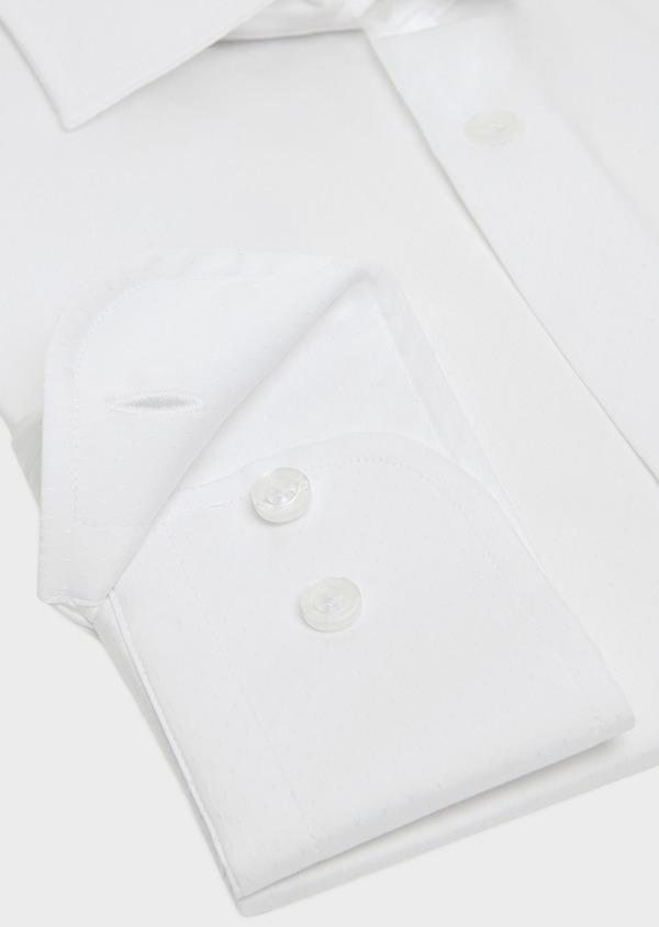 Chemise habillée Slim en pinpoint de coton stretch blanc à pois ton-sur-ton - Father and Sons 32421