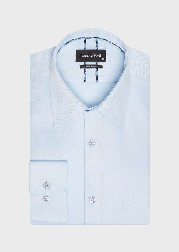 Chemise habillée Slim en popeline de coton bleu ciel à pois ton-sur-ton - Father and Sons 32334
