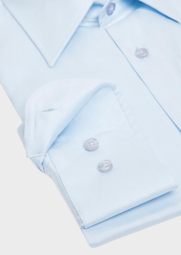 Chemise habillée Slim en popeline de coton bleu ciel à pois ton-sur-ton - Father and Sons 32337