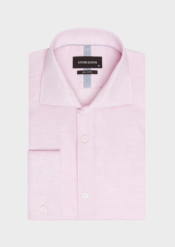 Chemise habillée Slim en pinpoint de coton rose à pois blancs - Father and Sons 32402