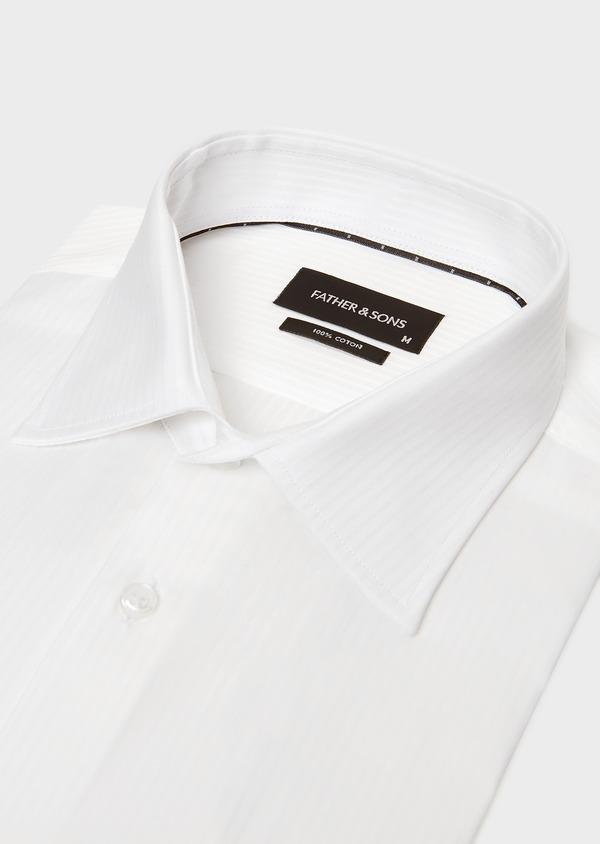 Chemise habillée Slim en coton façonné blanc à rayures ton-sur-ton - Father and Sons 32380