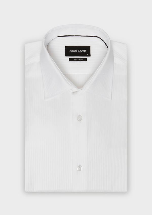 Chemise habillée Slim en coton façonné blanc à rayures ton-sur-ton - Father and Sons 32378
