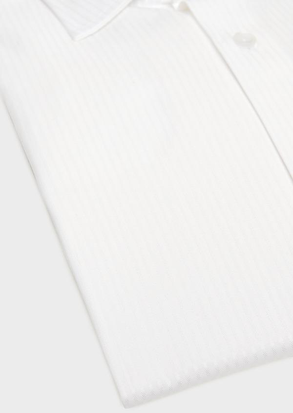 Chemise habillée Slim en coton façonné blanc à rayures ton-sur-ton - Father and Sons 32381