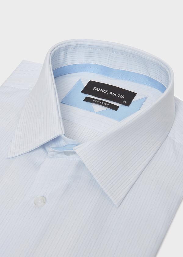 Chemise habillée Slim en coton façonné à rayures bleu ciel - Father and Sons 32324
