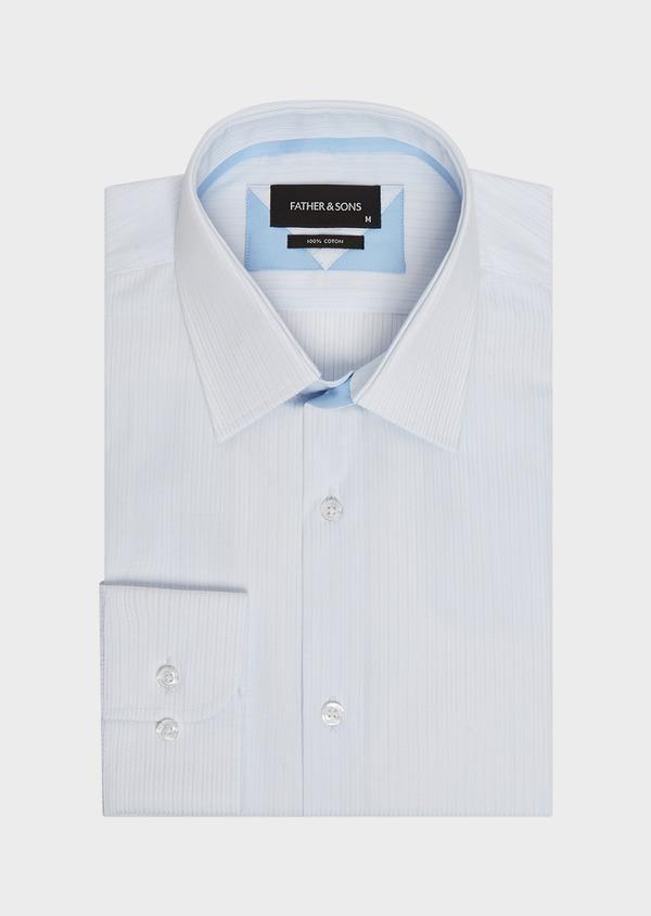 Chemise habillée Slim en coton façonné à rayures bleu ciel - Father and Sons 32322