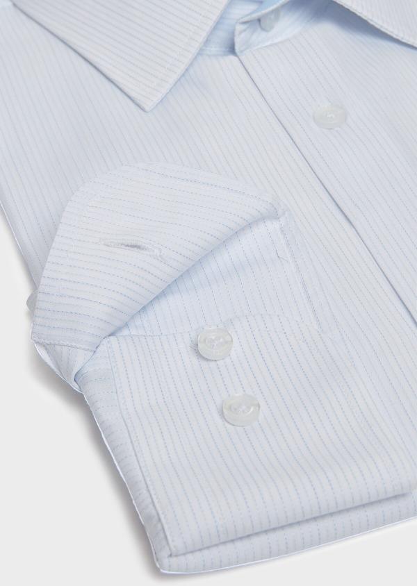Chemise habillée Slim en coton façonné à rayures bleu ciel - Father and Sons 32325