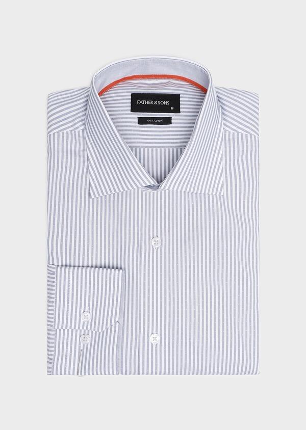 Chemise habillée Slim en popeline de coton bleu gris à rayures - Father and Sons 32278