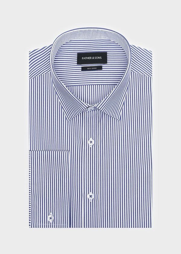 Chemise habillée Slim en popeline de coton à rayures bleues - Father and Sons 32298