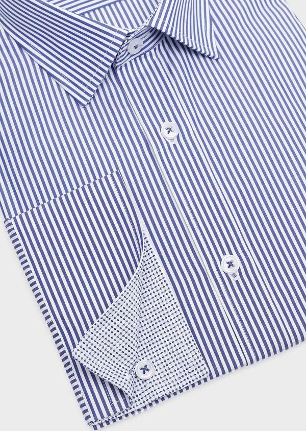 Chemise habillée Slim en popeline de coton à rayures bleues - Father and Sons 32301