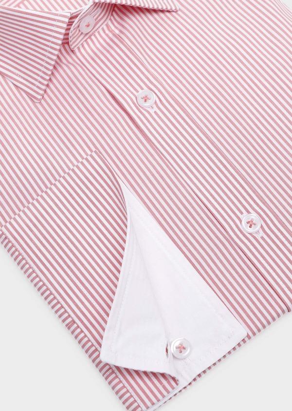 Chemise habillée Slim en popeline de coton à rayures rose foncé - Father and Sons 32293