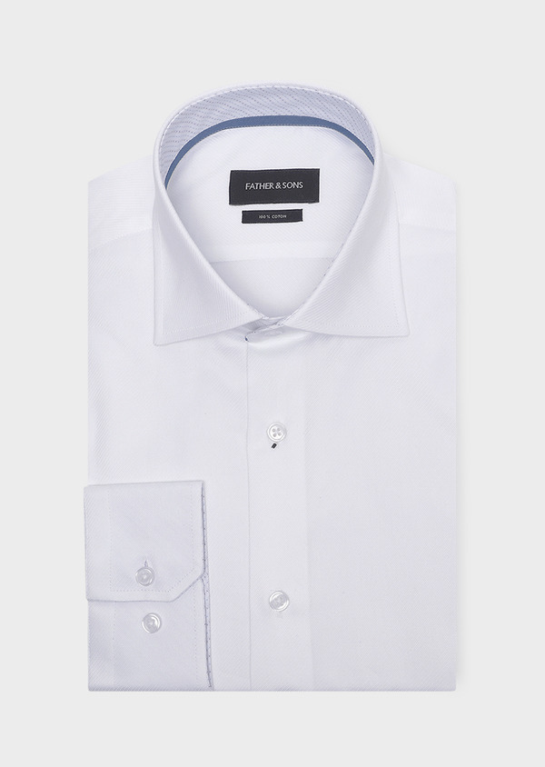 Chemise habillée Slim en coton façonné uni blanc - Father and Sons 32306