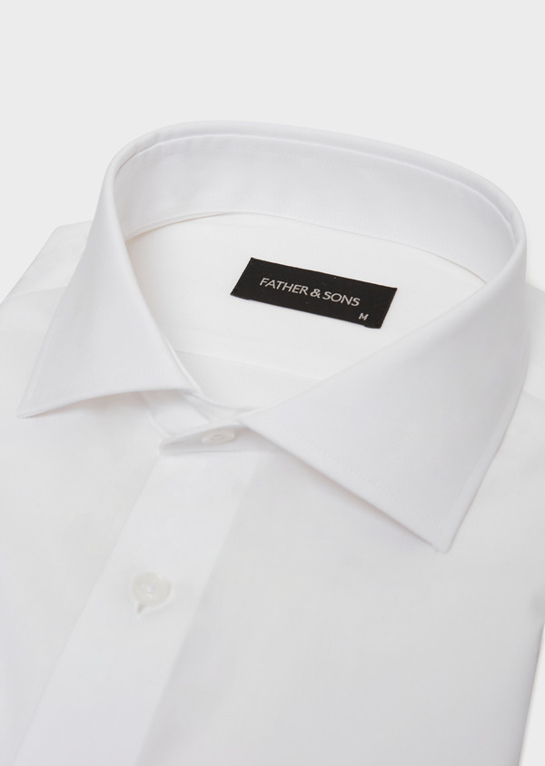 Chemise habillée non-iron Slim en popeline de coton uni blanc - Father and Sons 36531