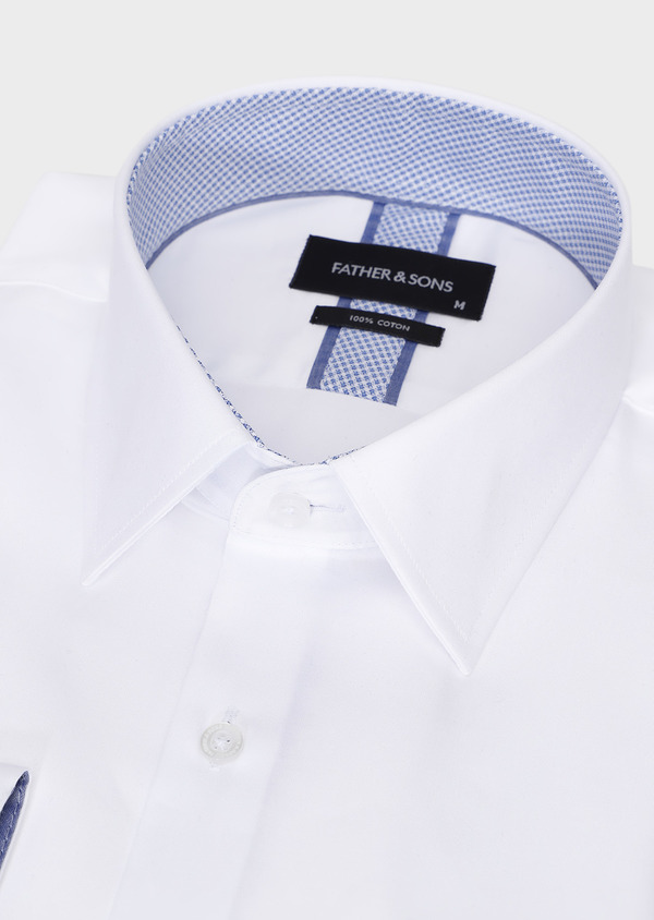 Chemise habillée Slim en popeline de coton uni blanc - Father and Sons 28637