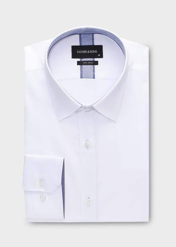Chemise habillée Slim en popeline de coton uni blanc - Father and Sons 28635