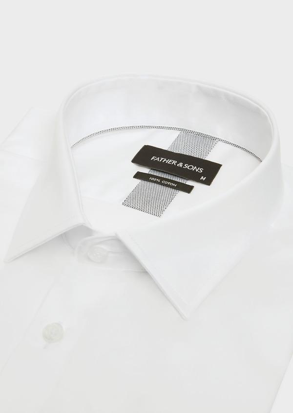 Chemise habillée Slim en satin de coton uni blanc - Father and Sons 32372