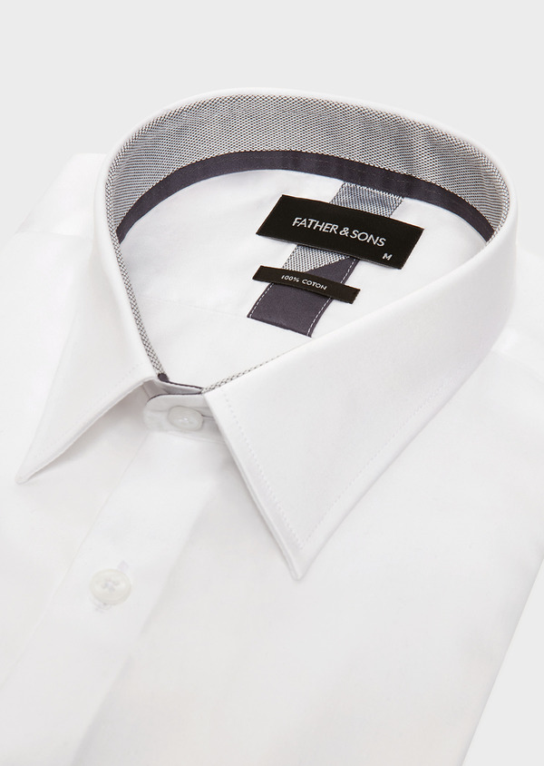 Chemise habillée Slim uni en satin de coton blanc - Father and Sons 32376