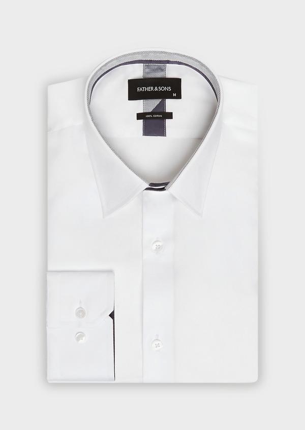 Chemise habillée Slim uni en satin de coton blanc - Father and Sons 32374