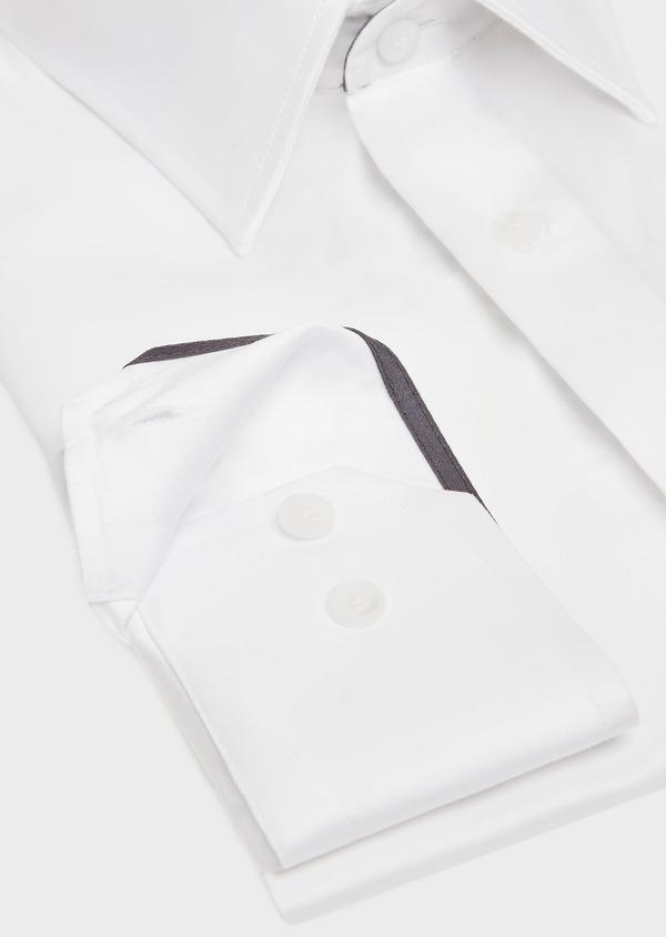 Chemise habillée Slim uni en satin de coton blanc - Father and Sons 32377