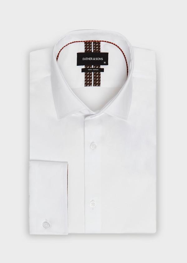 Chemise habillée Slim en satin de coton uni blanc - Father and Sons 32426