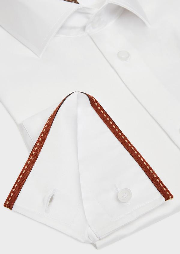 Chemise habillée Slim en satin de coton uni blanc - Father and Sons 32429