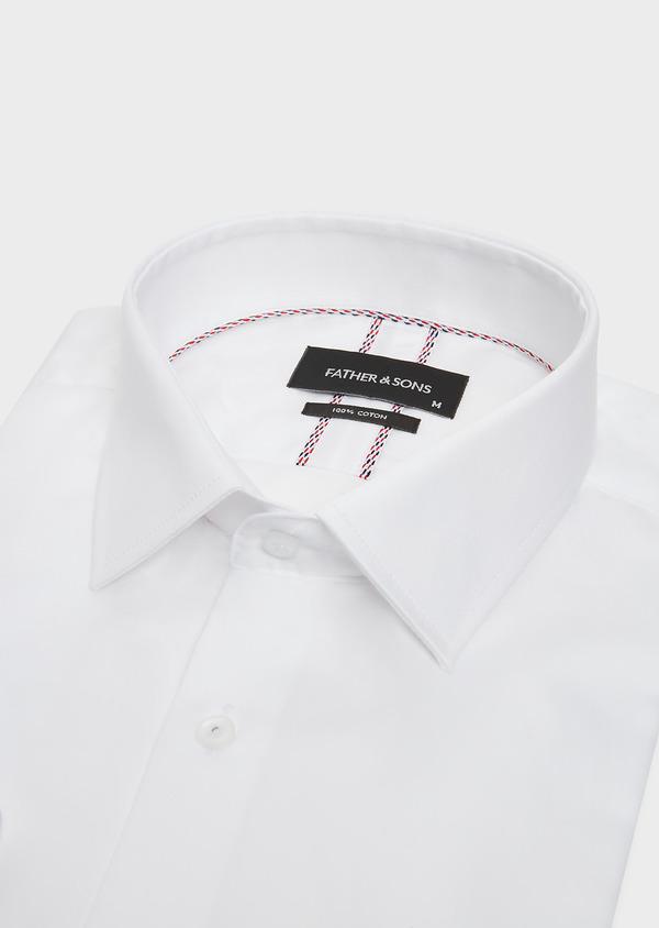 Chemise Slim habillée en satin de coton blanc uni - Father and Sons 32444