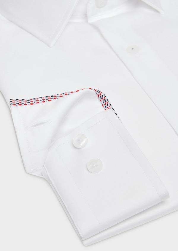 Chemise Slim habillée en satin de coton blanc uni - Father and Sons 32445