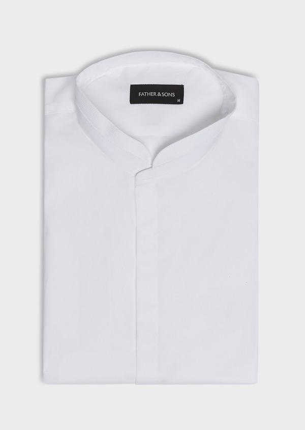 Chemise habillée Slim en popeline de coton stretch uni blanc à col officier - Father and Sons 32466