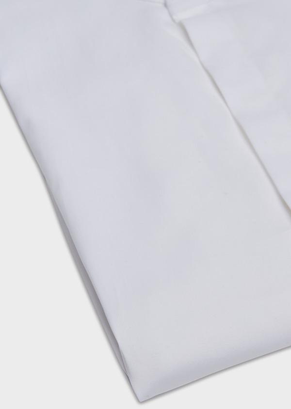 Chemise habillée Slim en popeline de coton stretch uni blanc à col officier - Father and Sons 32469