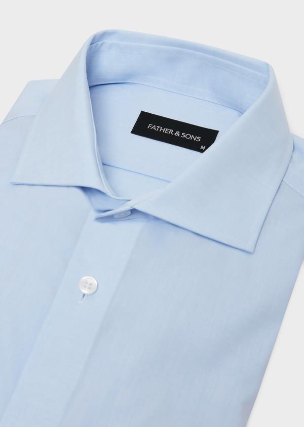 Chemise habillée non-iron Slim en popeline de coton uni bleu ciel - Father and Sons 36535