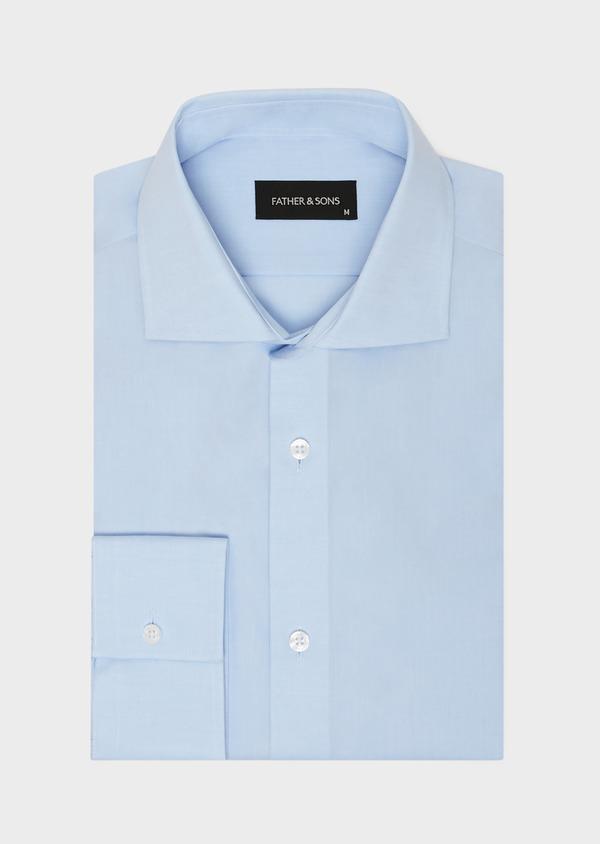 Chemise habillée non-iron Slim en popeline de coton uni bleu ciel - Father and Sons 36533