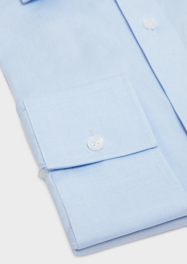 Chemise habillée non-iron Slim en popeline de coton uni bleu ciel - Father and Sons 36536