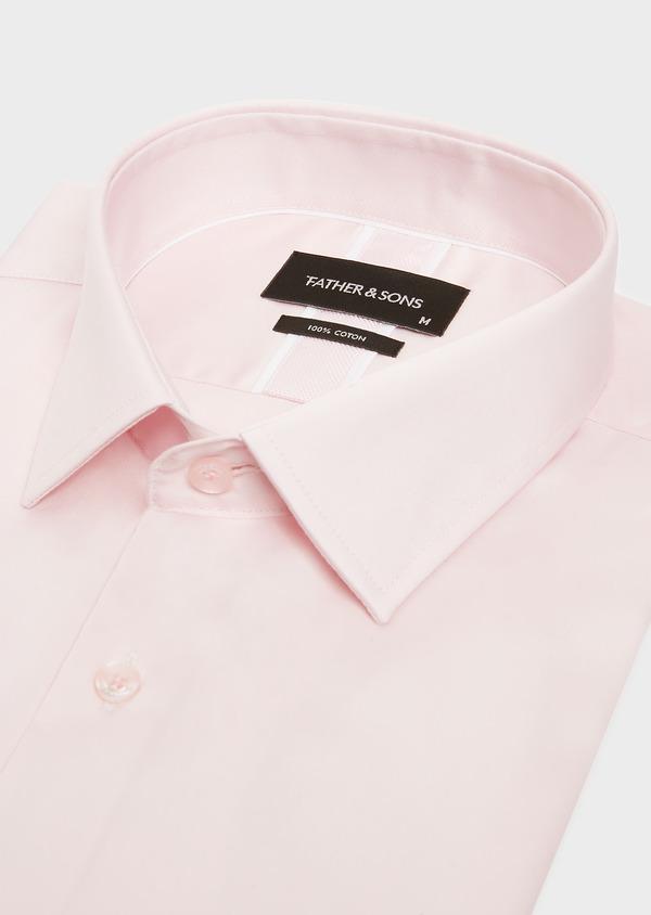 Chemise habillée Slim en satin de coton uni rose - Father and Sons 32412