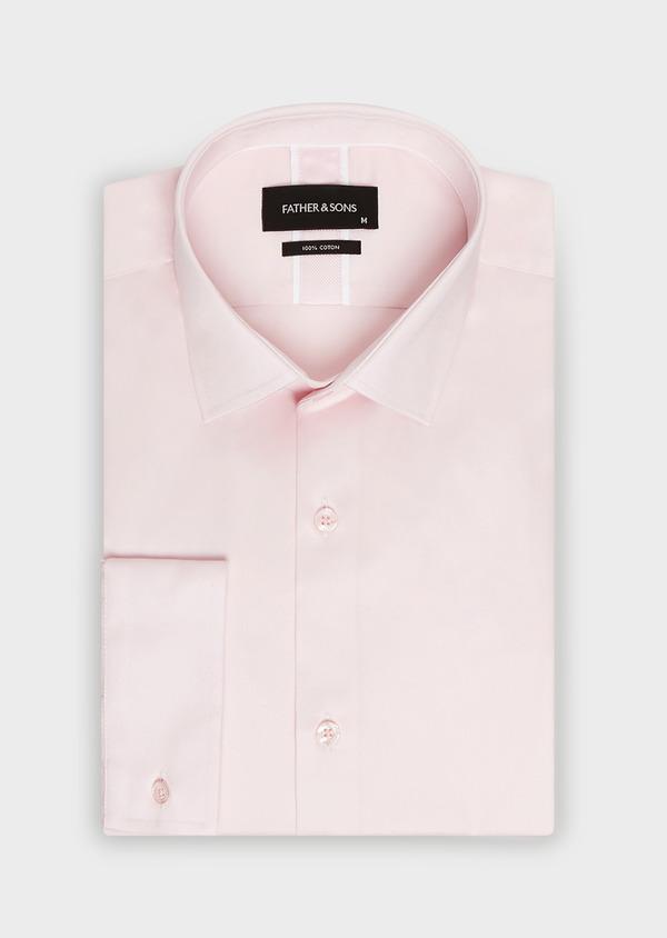 Chemise habillée Slim en satin de coton uni rose - Father and Sons 32410