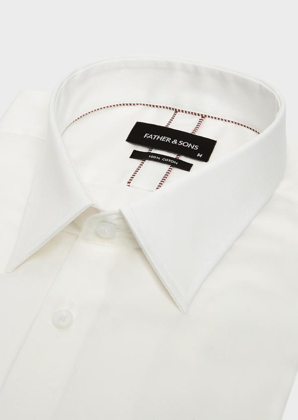 Chemise habillée Slim en satin de coton uni écru - Father and Sons 32392