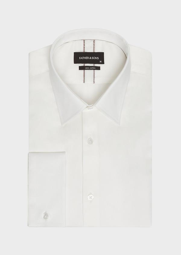 Chemise habillée Slim en satin de coton uni écru - Father and Sons 32390