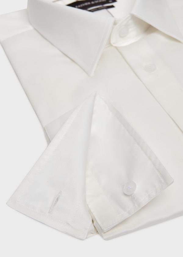 Chemise habillée Slim en satin de coton uni écru - Father and Sons 32393