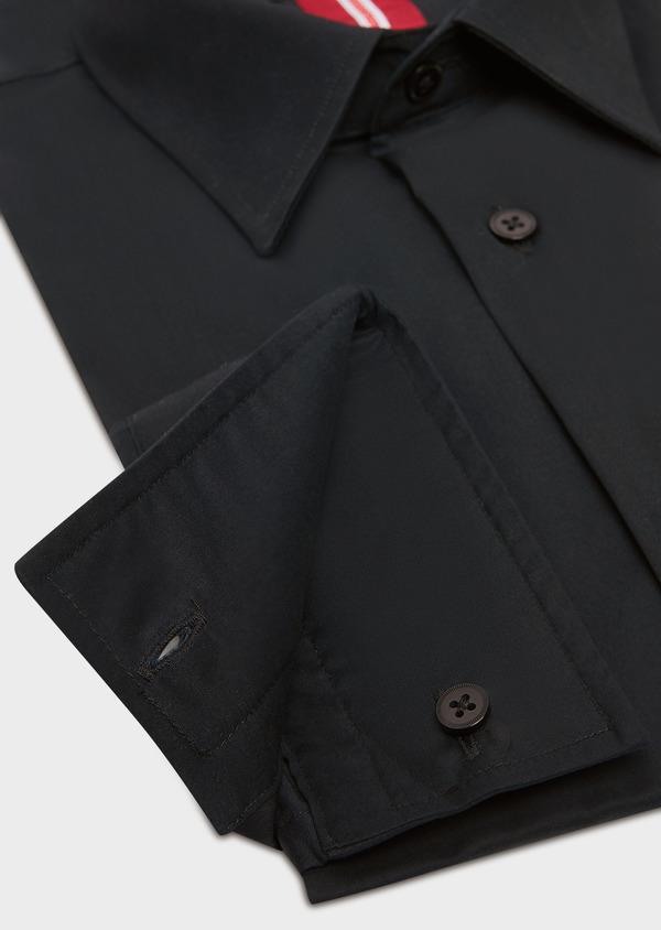 Chemise habillée Slim en satin de coton stretch uni noir - Father and Sons 32465