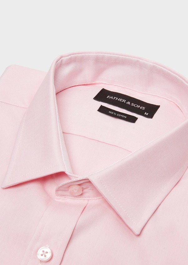 Chemise habillée Slim en coton Oxford uni rose - Father and Sons 26051