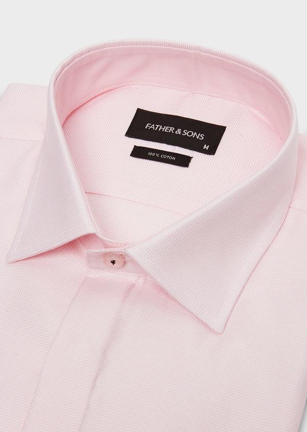 Chemise habillée Slim en coton façonné rose à motif fantaisie blanc - Father and Sons 26058