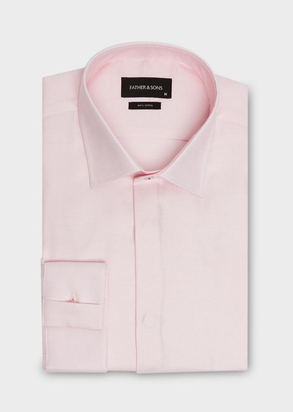 Chemise habillée Slim en coton façonné rose à motif fantaisie blanc - Father and Sons 26056