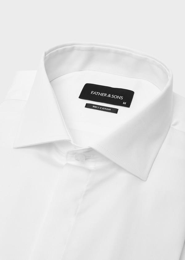 Chemise habillée Slim en coton sergé uni blanc - Father and Sons 40628