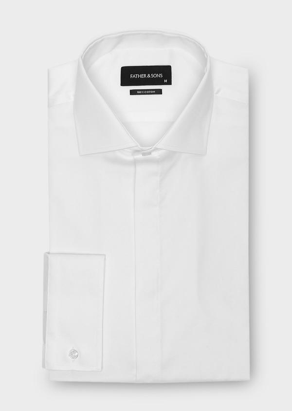 Chemise habillée Slim en coton sergé uni blanc - Father and Sons 40624